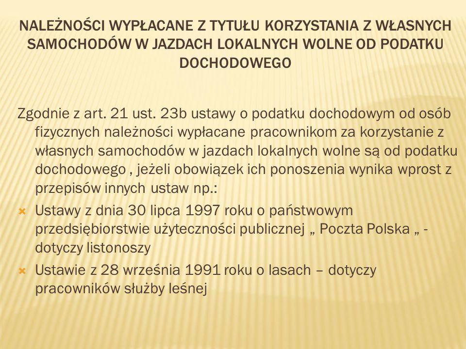 NALEŻNOŚCI WYPŁACANE Z TYTUŁU KORZYSTANIA Z WŁASNYCH SAMOCHODÓW W JAZDACH LOKALNYCH WOLNE OD PODATKU DOCHODOWEGO Zgodnie z art. 21 ust. 23b ustawy o p