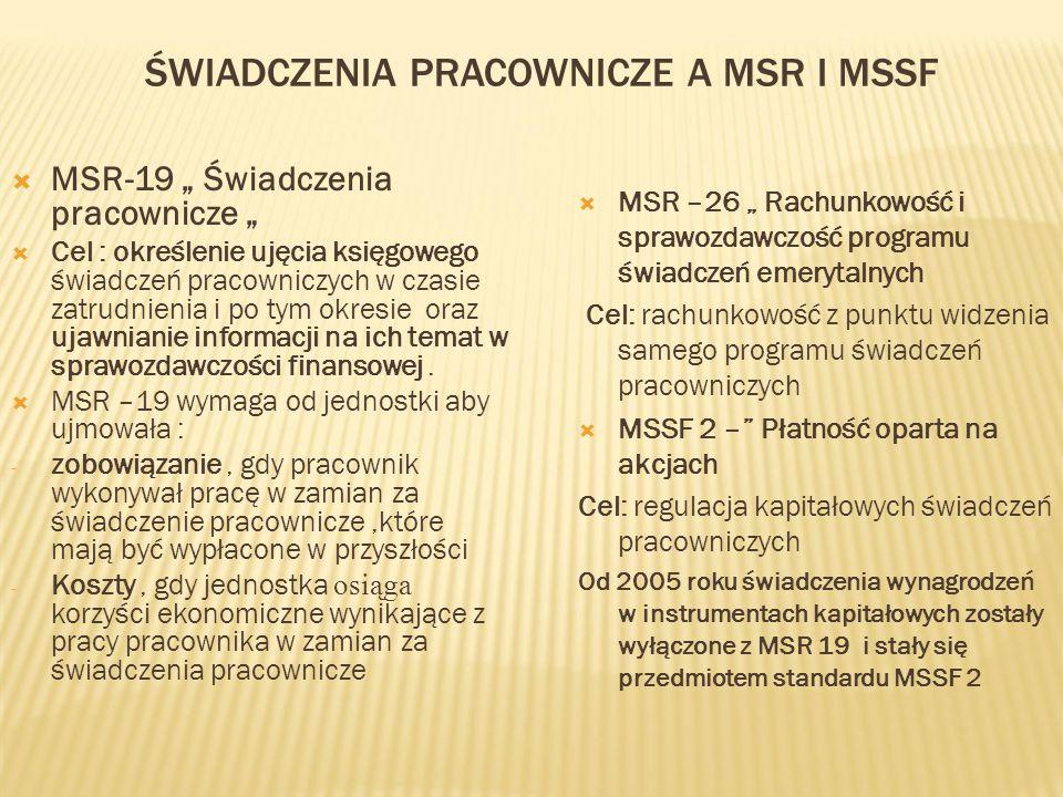 """ŚWIADCZENIA PRACOWNICZE A MSR I MSSF  MSR-19 """" Świadczenia pracownicze """"  Cel : określenie ujęcia księgowego świadczeń pracowniczych w czasie zatrud"""