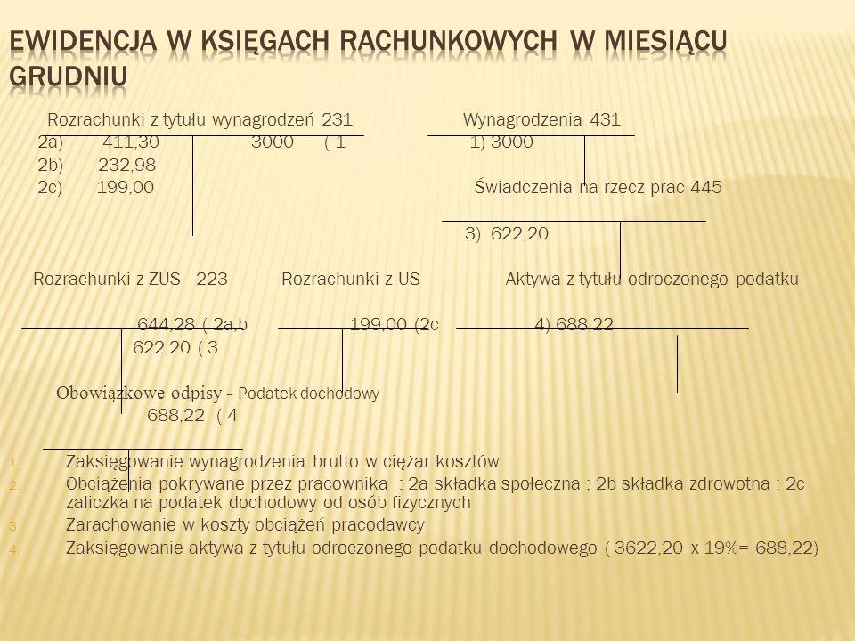Rozrachunki z tytułu wynagrodzeń 231 Wynagrodzenia 431 2a) 411,30 3000 ( 1 1) 3000 2b) 232,98 2c) 199,00 Świadczenia na rzecz prac 445 3) 622,20 Rozra
