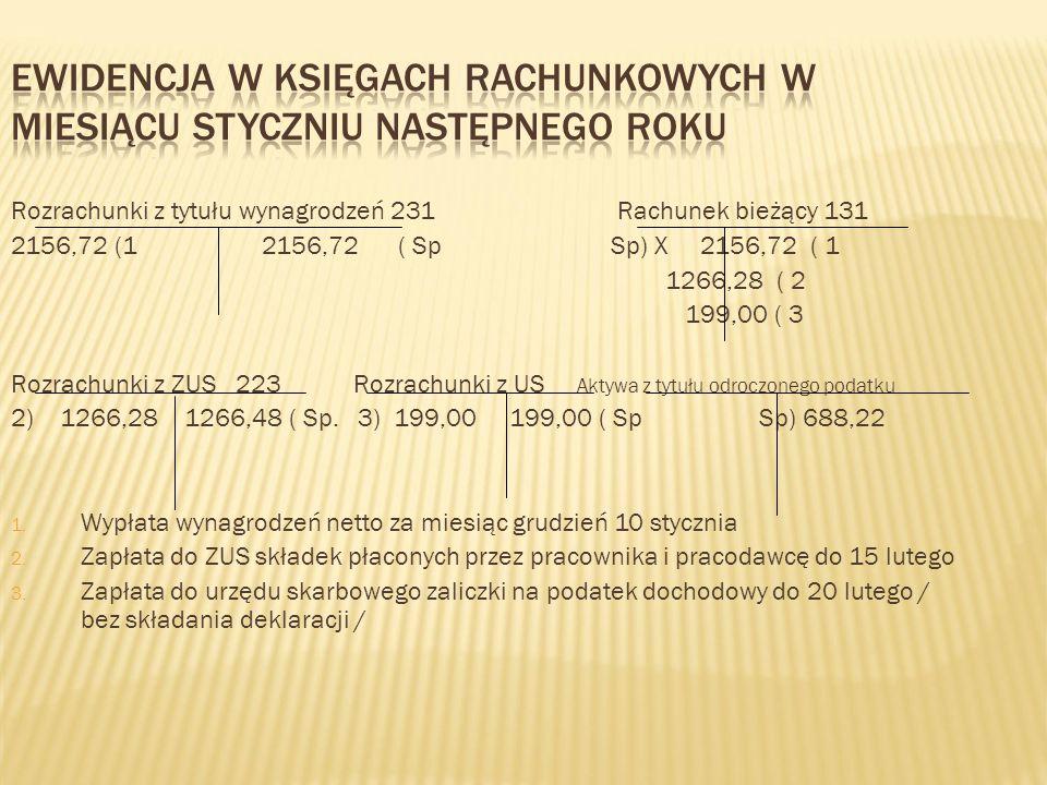 Rozrachunki z tytułu wynagrodzeń 231 Rachunek bieżący 131 2156,72 (1 2156,72 ( Sp Sp) X 2156,72 ( 1 1266,28 ( 2 199,00 ( 3 Rozrachunki z ZUS 223 Rozra