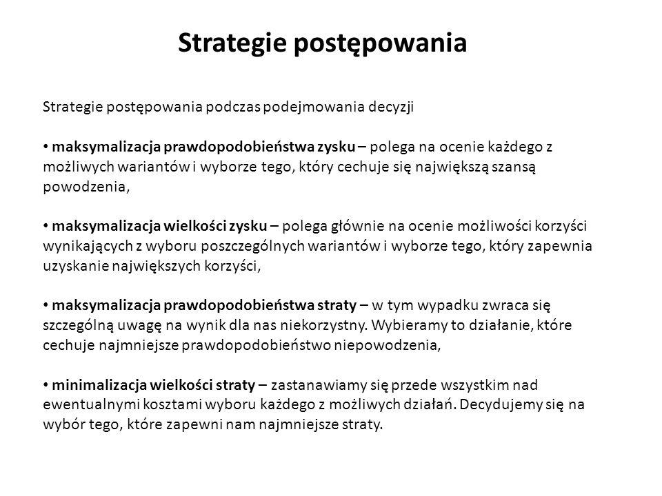 Strategie postępowania Strategie postępowania podczas podejmowania decyzji maksymalizacja prawdopodobieństwa zysku – polega na ocenie każdego z możliw