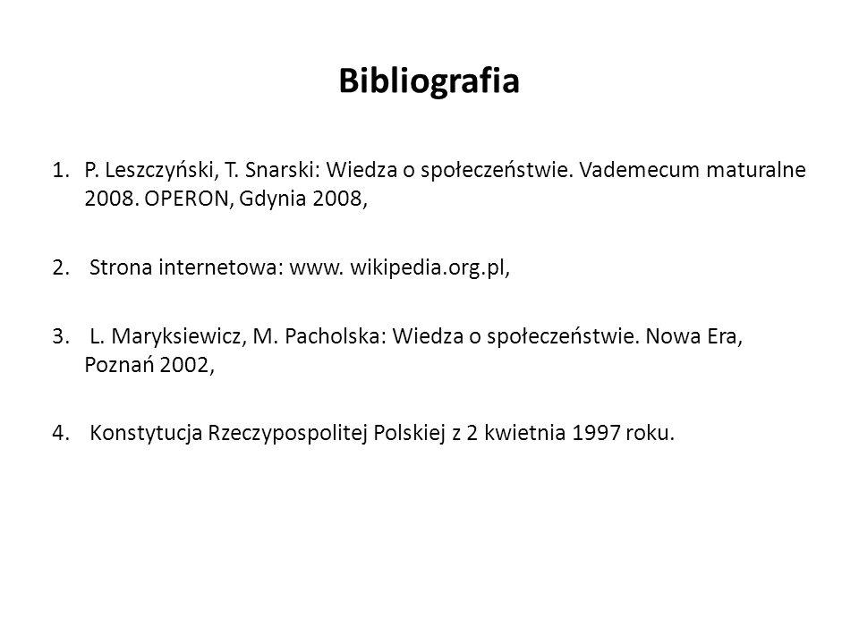 Bibliografia 1.P. Leszczyński, T. Snarski: Wiedza o społeczeństwie. Vademecum maturalne 2008. OPERON, Gdynia 2008, 2. Strona internetowa: www. wikiped