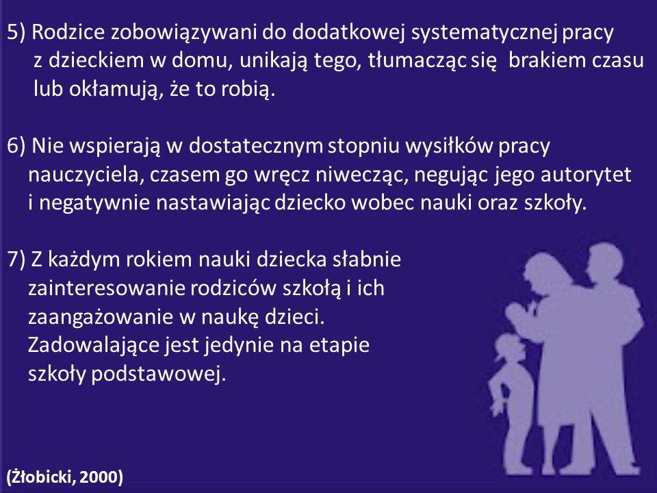 5) Rodzice zobowiązywani do dodatkowej systematycznej pracy z dzieckiem w domu, unikają tego, tłumacząc się brakiem czasu lub okłamują, że to robią. 6