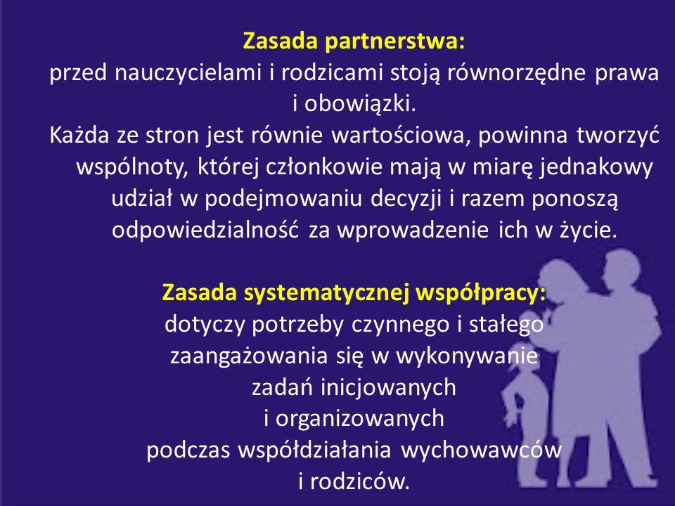 Zasada partnerstwa: przed nauczycielami i rodzicami stoją równorzędne prawa i obowiązki. Każda ze stron jest równie wartościowa, powinna tworzyć wspól
