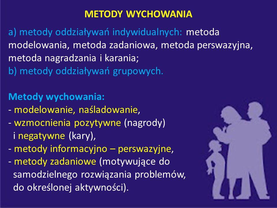 METODY WYCHOWANIA a) metody oddziaływań indywidualnych: metoda modelowania, metoda zadaniowa, metoda perswazyjna, metoda nagradzania i karania; b) met