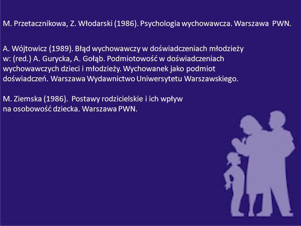 M. Przetacznikowa, Z. Włodarski (1986). Psychologia wychowawcza. Warszawa PWN. A. Wójtowicz (1989). Błąd wychowawczy w doświadczeniach młodzieży w: (r