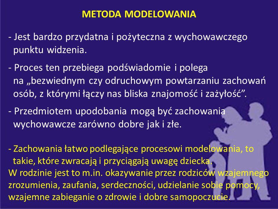 METODA MODELOWANIA - Modelowaniu podlegają także przybierane przez opiekunów postawy prospołeczne wobec innych osób z otoczenia, np.