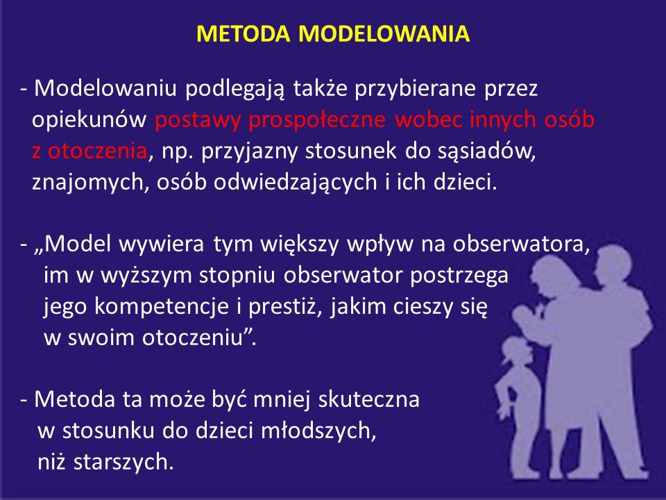 METODA MODELOWANIA - Modelowaniu podlegają także przybierane przez opiekunów postawy prospołeczne wobec innych osób z otoczenia, np. przyjazny stosune