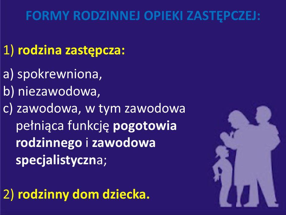 FORMY RODZINNEJ OPIEKI ZASTĘPCZEJ: 1) rodzina zastępcza: a) spokrewniona, b) niezawodowa, c) zawodowa, w tym zawodowa pełniąca funkcję pogotowia rodzi