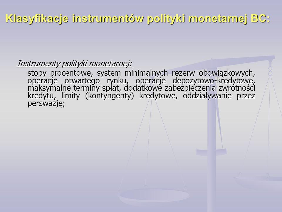 Klasyfikacje instrumentów polityki monetarnej BC: Instrumenty polityki monetarnej: stopy procentowe, system minimalnych rezerw obowiązkowych, operacje