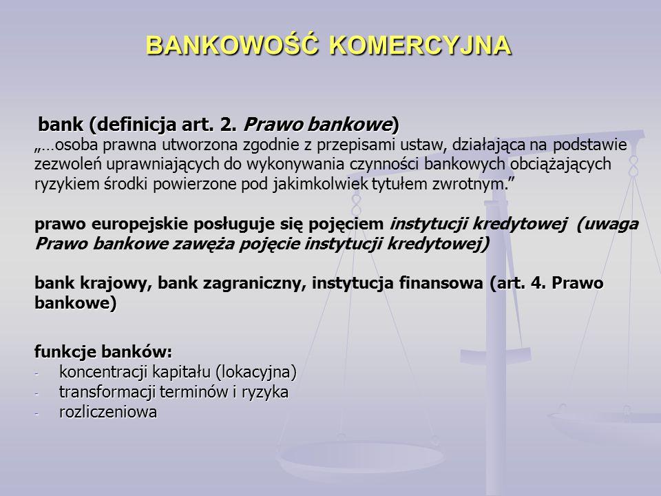 """BANKOWOŚĆ KOMERCYJNA bank (definicja art. 2. Prawo bankowe) """"…osoba prawna utworzona zgodnie z przepisami ustaw, działająca na podstawie zezwoleń upra"""