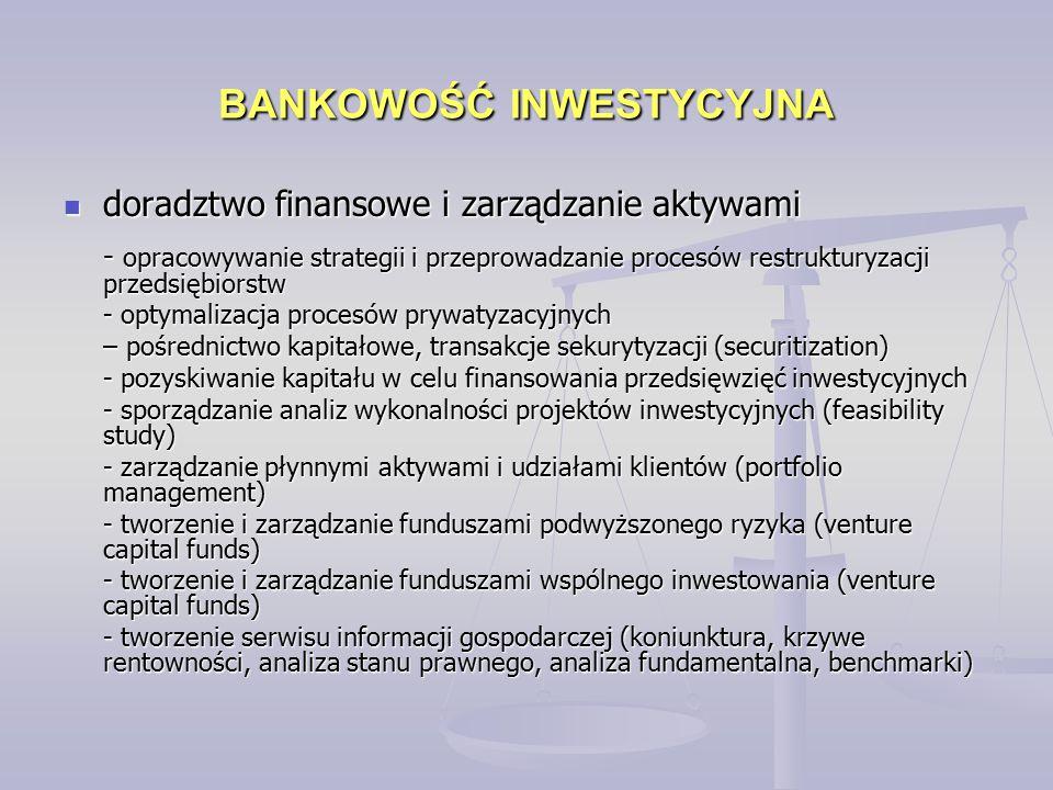 BANKOWOŚĆ INWESTYCYJNA doradztwo finansowe i zarządzanie aktywami doradztwo finansowe i zarządzanie aktywami - opracowywanie strategii i przeprowadzan