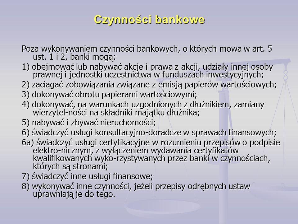 Poza wykonywaniem czynności bankowych, o których mowa w art. 5 ust. 1 i 2, banki mogą: 1) obejmować lub nabywać akcje i prawa z akcji, udziały innej o