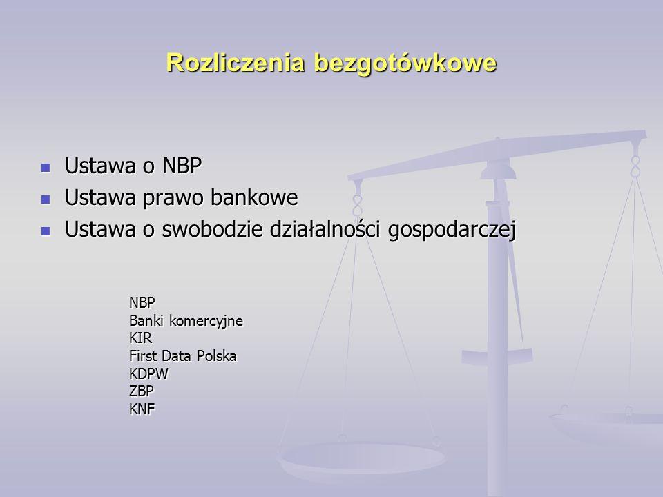 Rozliczenia bezgotówkowe Ustawa o NBP Ustawa o NBP Ustawa prawo bankowe Ustawa prawo bankowe Ustawa o swobodzie działalności gospodarczej Ustawa o swo