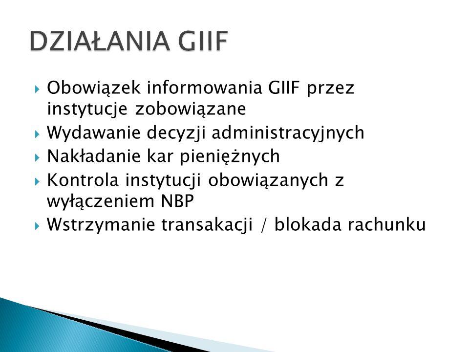  Obowiązek informowania GIIF przez instytucje zobowiązane  Wydawanie decyzji administracyjnych  Nakładanie kar pieniężnych  Kontrola instytucji obowiązanych z wyłączeniem NBP  Wstrzymanie transakacji / blokada rachunku