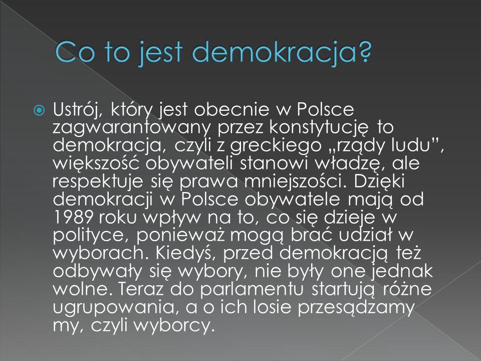 """ Ustrój, który jest obecnie w Polsce zagwarantowany przez konstytucję to demokracja, czyli z greckiego """"rządy ludu , większość obywateli stanowi władzę, ale respektuje się prawa mniejszości."""