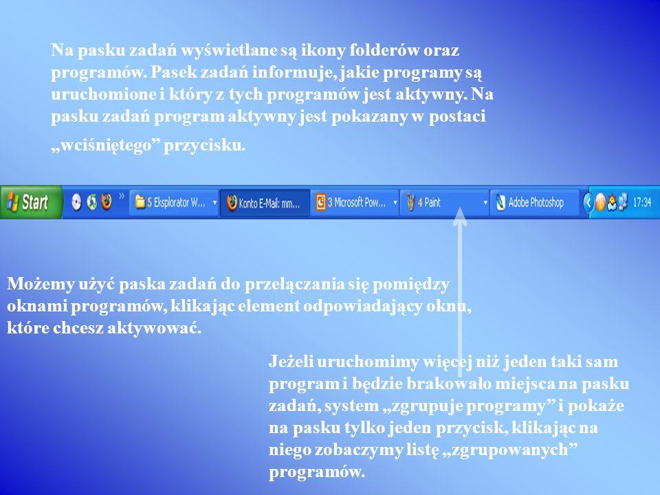 Po kliknięciu przycisku otwiera się rozwijane menu, które zawiera odnośniki do elementów umożliwiających konfiguracje komputera, odnośniki do zainstal