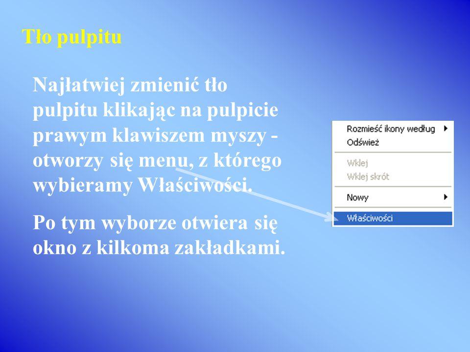 Na pasku zadań wyświetlane są ikony folderów oraz programów. Pasek zadań informuje, jakie programy są uruchomione i który z tych programów jest aktywn