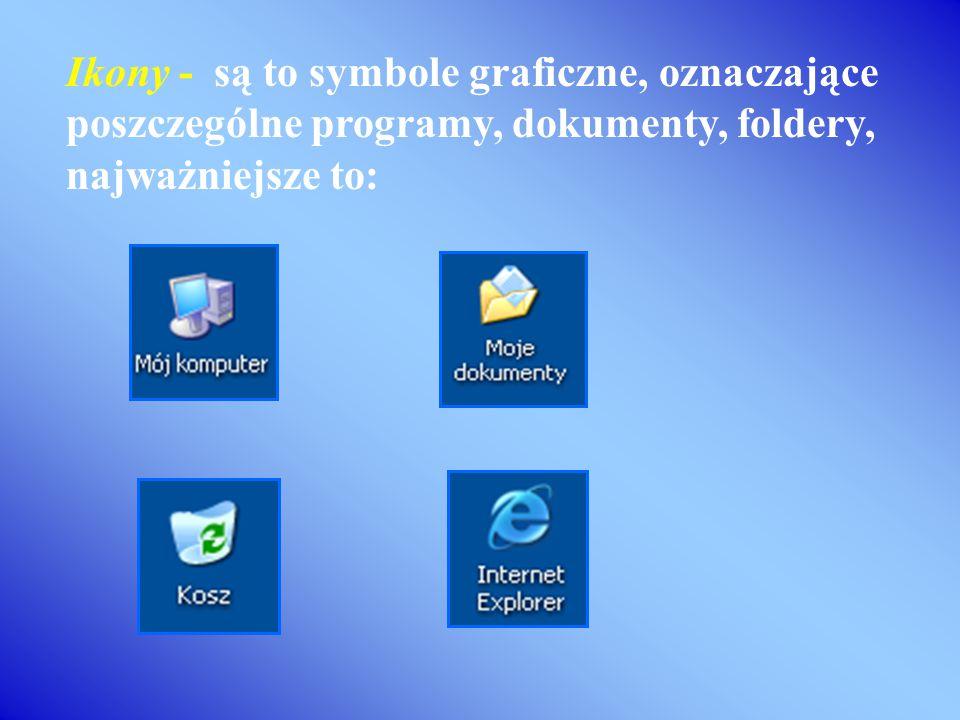 Ikony - są to symbole graficzne, oznaczające poszczególne programy, dokumenty, foldery, najważniejsze to: