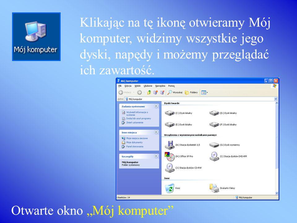 Ikona Internet Explorer symbolizuje przeglądarkę internetową, która umożliwia oglądanie stron www. Ikona Kosz przedstawia miejsce, do którego przenosi