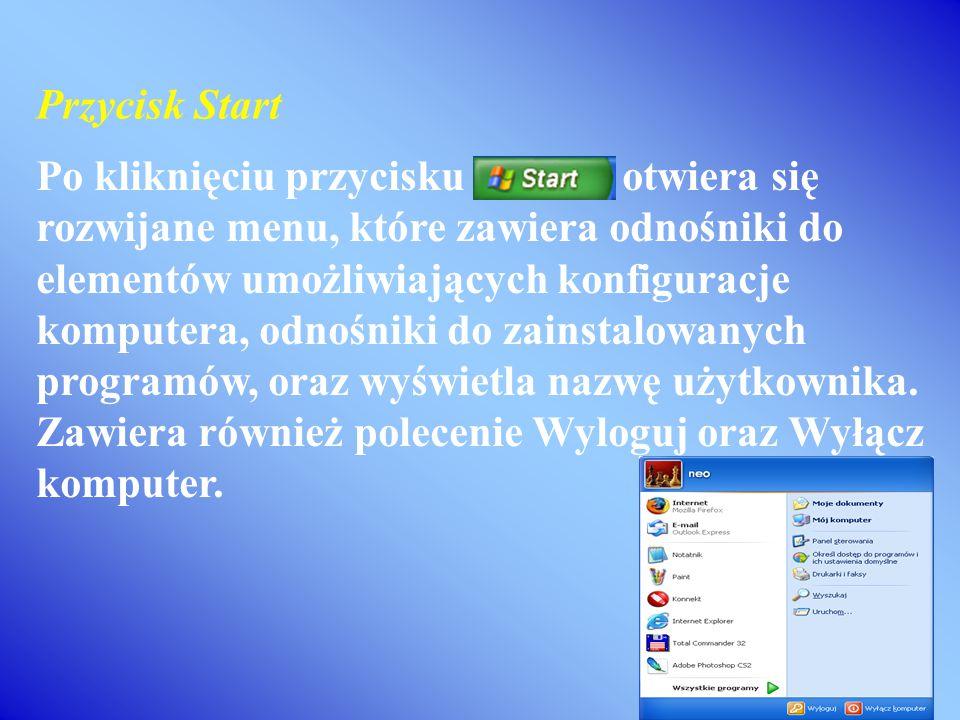 Po kliknięciu przycisku otwiera się rozwijane menu, które zawiera odnośniki do elementów umożliwiających konfiguracje komputera, odnośniki do zainstalowanych programów, oraz wyświetla nazwę użytkownika.