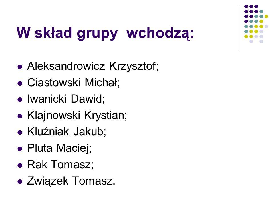 W skład grupy wchodzą: Aleksandrowicz Krzysztof; Ciastowski Michał; Iwanicki Dawid; Klajnowski Krystian; Kluźniak Jakub; Pluta Maciej; Rak Tomasz; Zwi