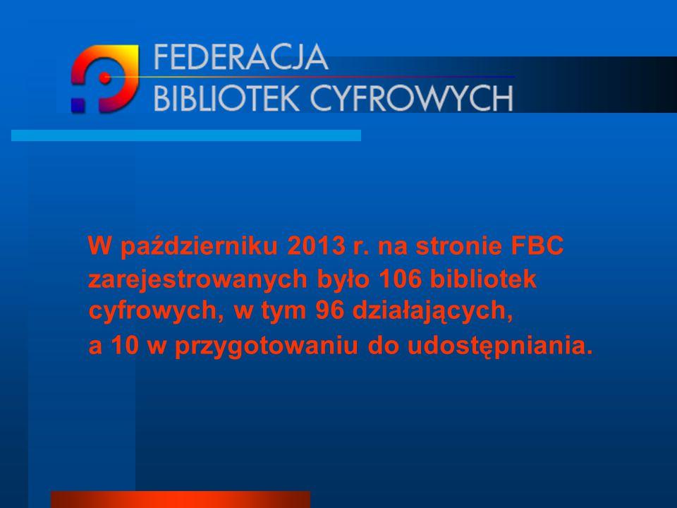 W październiku 2013 r. na stronie FBC zarejestrowanych było 106 bibliotek cyfrowych, w tym 96 działających, a 10 w przygotowaniu do udostępniania.