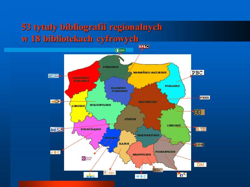 53 tytuły bibliografii regionalnych w 18 bibliotekach cyfrowych