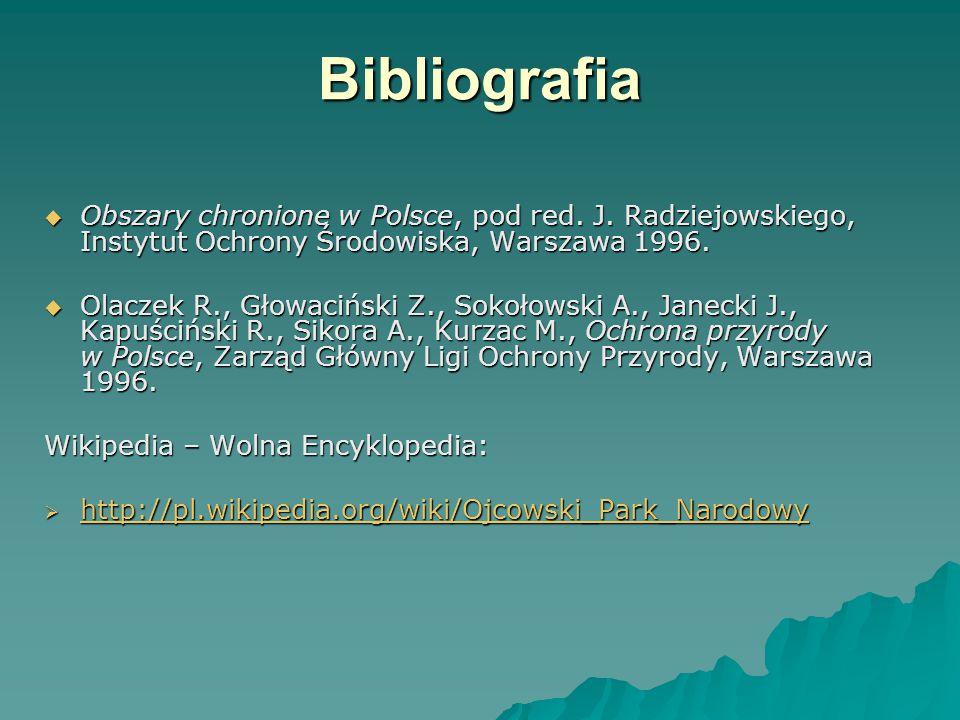 Bibliografia  Obszary chronione w Polsce, pod red.