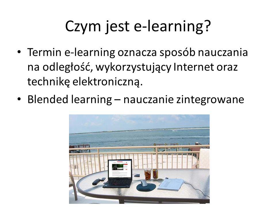 Korzyści z e-learningu Możliwość kształcenia dla osób, które z różnych względów nie mogą systematycznie być obecne na uczelni (pracujący na pełny etat, niepełnosprawni, mieszkający daleko od uczelni).
