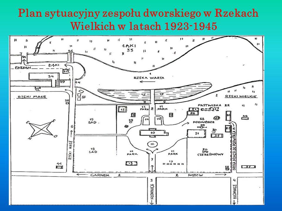 Plan sytuacyjny zespołu dworskiego w Rzekach Wielkich w latach 1923-1945