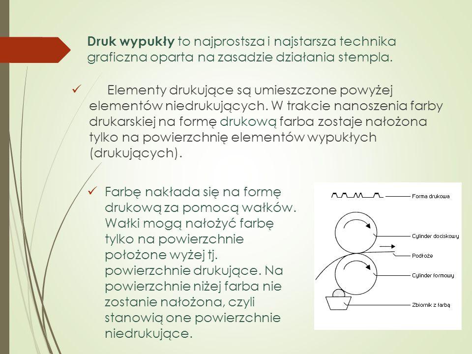 Elementy drukujące są umieszczone powyżej elementów niedrukujących. W trakcie nanoszenia farby drukarskiej na formę drukową farba zostaje nałożona tyl