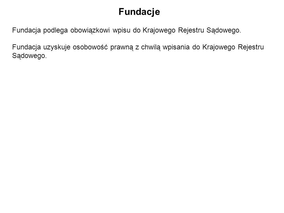 Fundacje Fundacja podlega obowiązkowi wpisu do Krajowego Rejestru Sądowego.