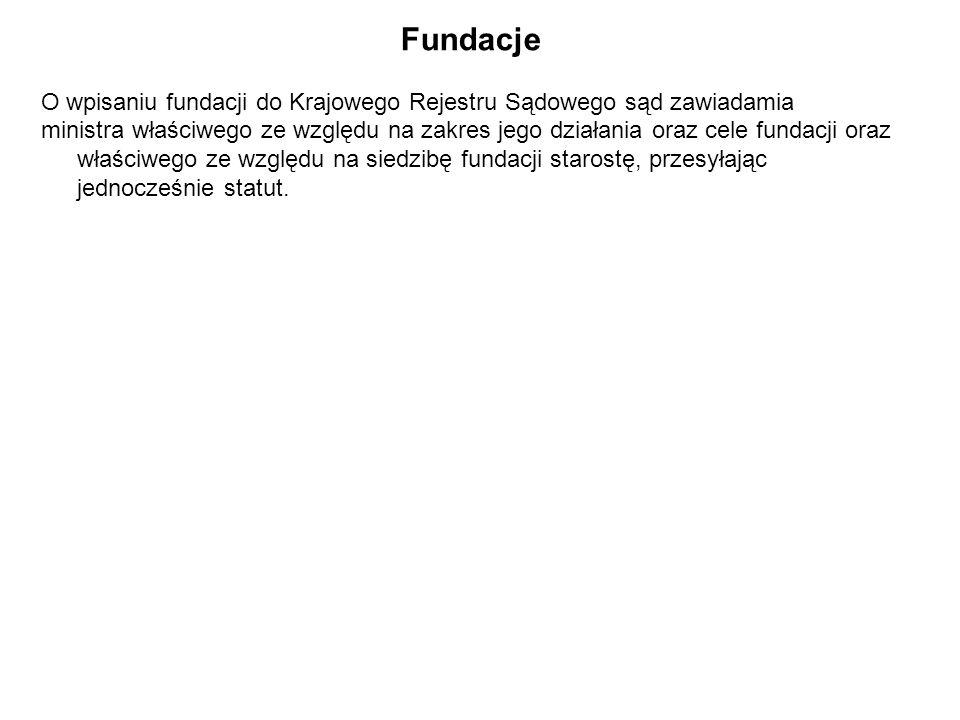 Fundacje O wpisaniu fundacji do Krajowego Rejestru Sądowego sąd zawiadamia ministra właściwego ze względu na zakres jego działania oraz cele fundacji oraz właściwego ze względu na siedzibę fundacji starostę, przesyłając jednocześnie statut.