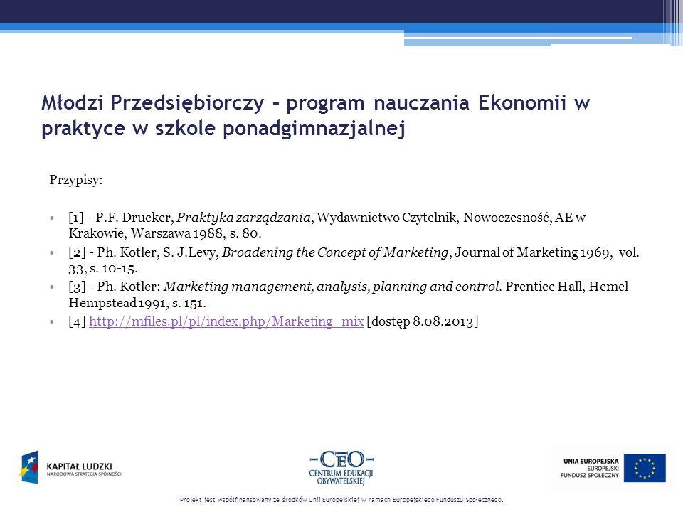 Młodzi Przedsiębiorczy – program nauczania Ekonomii w praktyce w szkole ponadgimnazjalnej Przypisy: [1] - P.F. Drucker, Praktyka zarządzania, Wydawnic