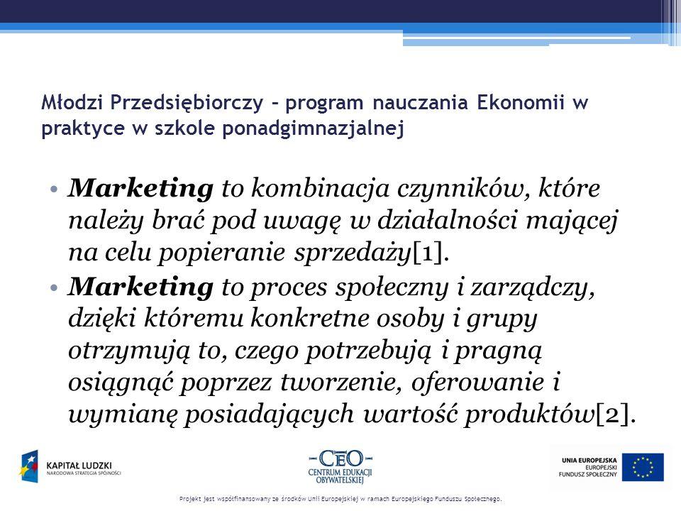 Młodzi Przedsiębiorczy – program nauczania Ekonomii w praktyce w szkole ponadgimnazjalnej Marketing-mix – łączy w całość pewne elementy, aby osiągnąć pożądane cele na rynku [3]:  product – produkt  price – cenę  place – dystrybucję  promotion – promocję.