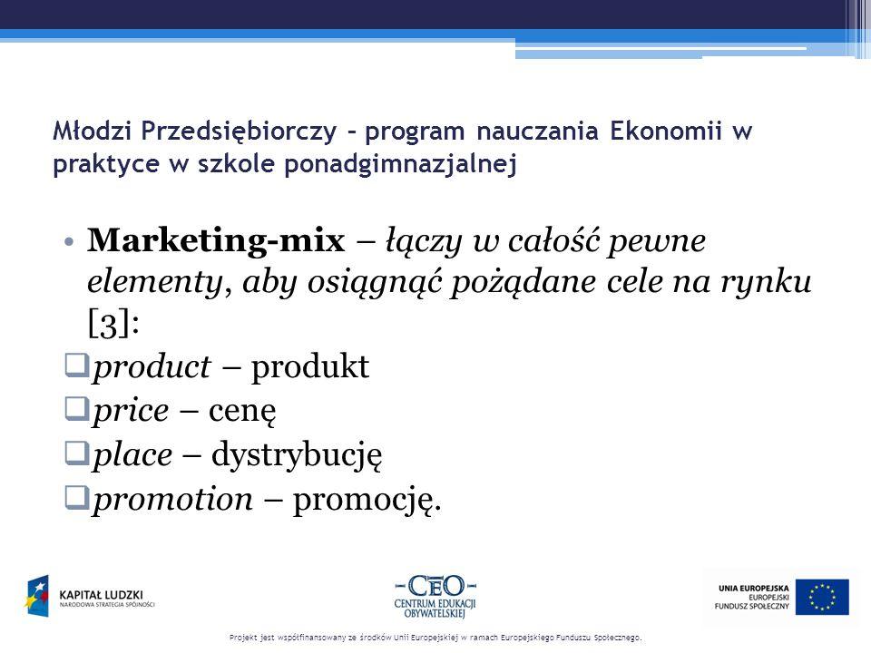 Młodzi Przedsiębiorczy – program nauczania Ekonomii w praktyce w szkole ponadgimnazjalnej Marketing-mix – łączy w całość pewne elementy, aby osiągnąć