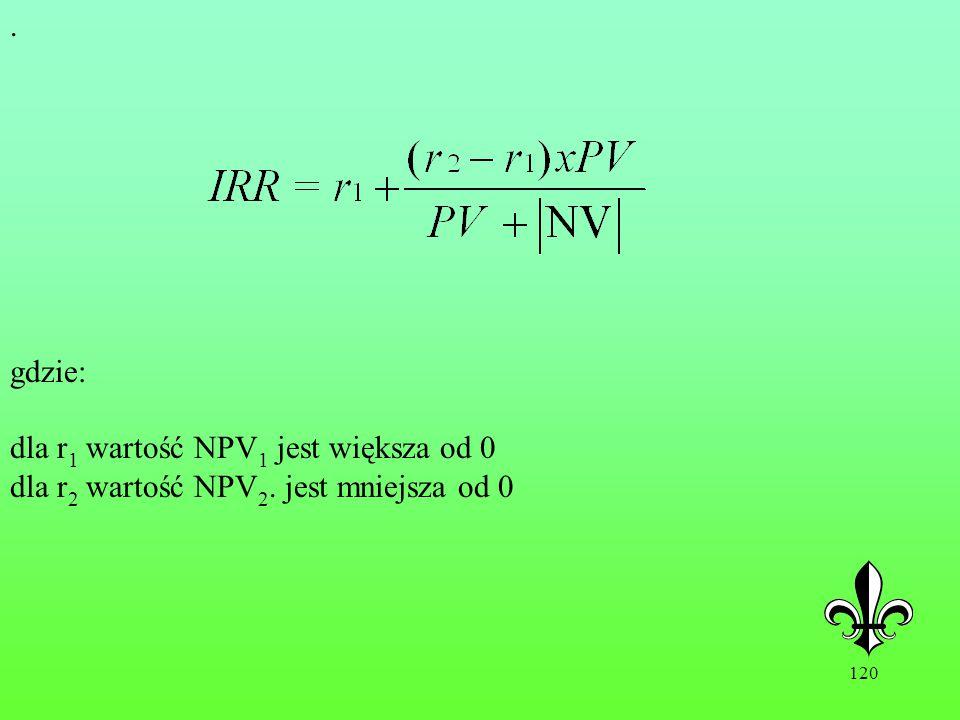 120. gdzie: dla r 1 wartość NPV 1 jest większa od 0 dla r 2 wartość NPV 2. jest mniejsza od 0