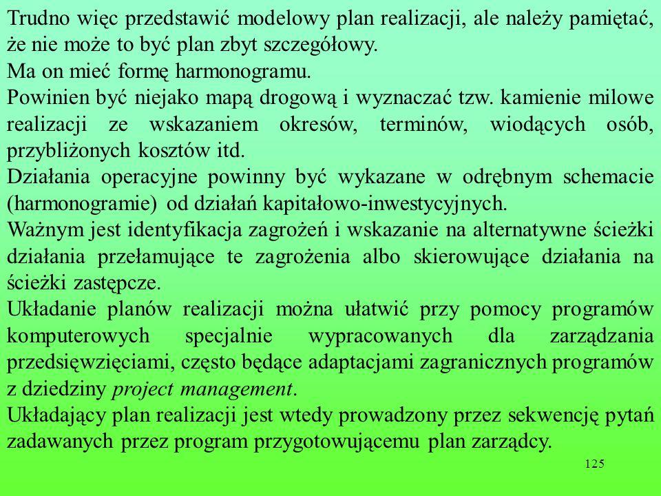 125 Trudno więc przedstawić modelowy plan realizacji, ale należy pamiętać, że nie może to być plan zbyt szczegółowy.