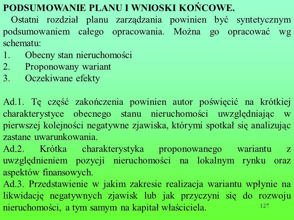 127 PODSUMOWANIE PLANU I WNIOSKI KOŃCOWE.
