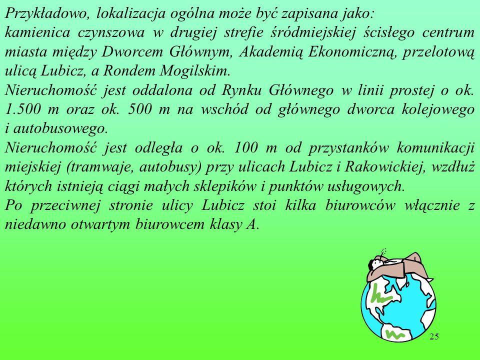25 Przykładowo, lokalizacja ogólna może być zapisana jako: kamienica czynszowa w drugiej strefie śródmiejskiej ścisłego centrum miasta między Dworcem Głównym, Akademią Ekonomiczną, przelotową ulicą Lubicz, a Rondem Mogilskim.