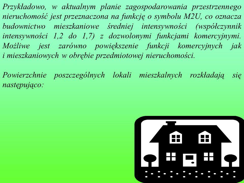 41 Przykładowo, w aktualnym planie zagospodarowania przestrzennego nieruchomość jest przeznaczona na funkcję o symbolu M2U, co oznacza budownictwo mieszkaniowe średniej intensywności (współczynnik intensywności 1,2 do 1,7) z dozwolonymi funkcjami komercyjnymi.