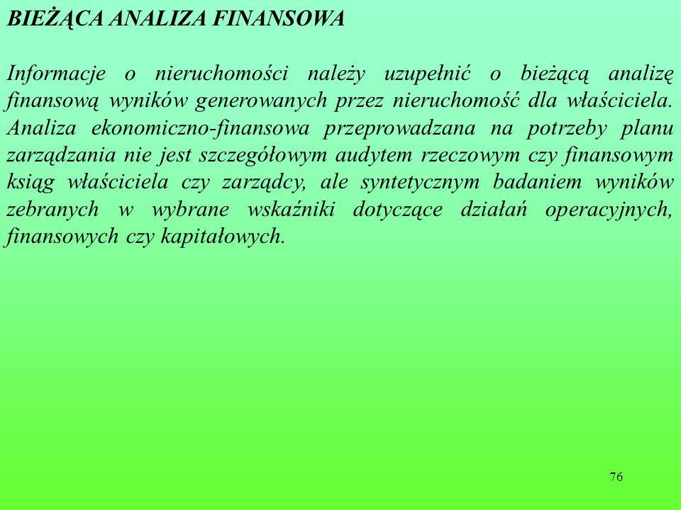 76.BIEŻĄCA ANALIZA FINANSOWA Informacje o nieruchomości należy uzupełnić o bieżącą analizę finansową wyników generowanych przez nieruchomość dla właściciela.