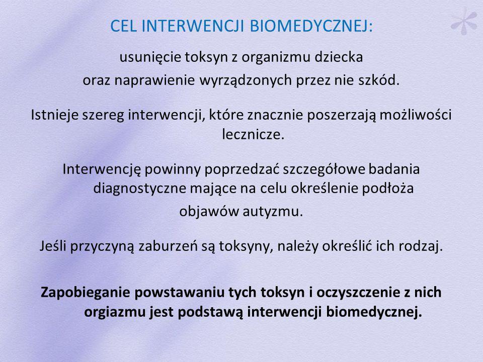 CEL INTERWENCJI BIOMEDYCZNEJ: usunięcie toksyn z organizmu dziecka oraz naprawienie wyrządzonych przez nie szkód.