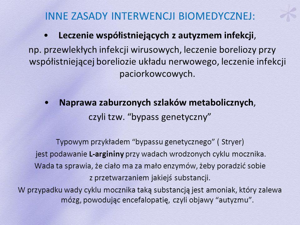 INNE ZASADY INTERWENCJI BIOMEDYCZNEJ: Leczenie współistniejących z autyzmem infekcji, np.