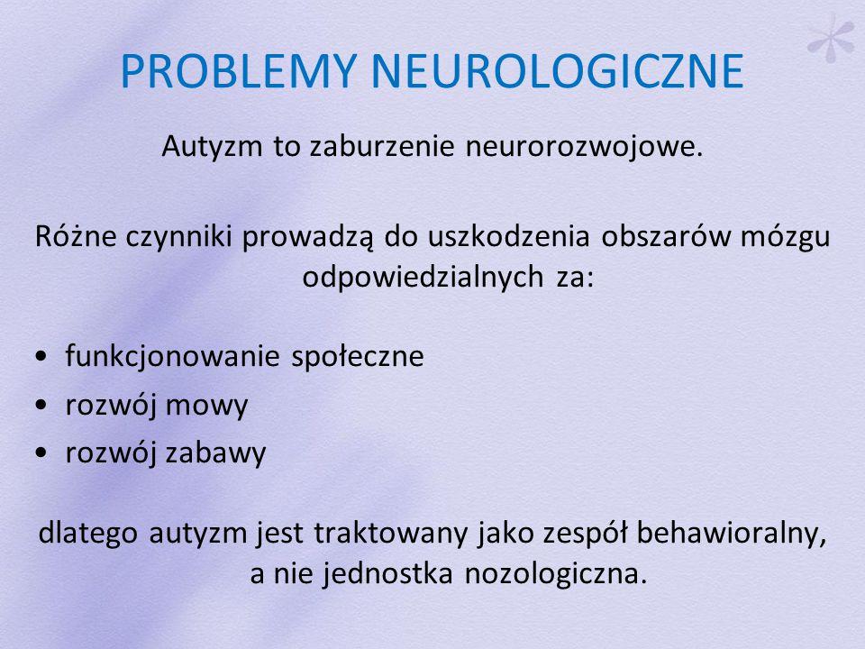 PROBLEMY NEUROLOGICZNE Autyzm to zaburzenie neurorozwojowe.