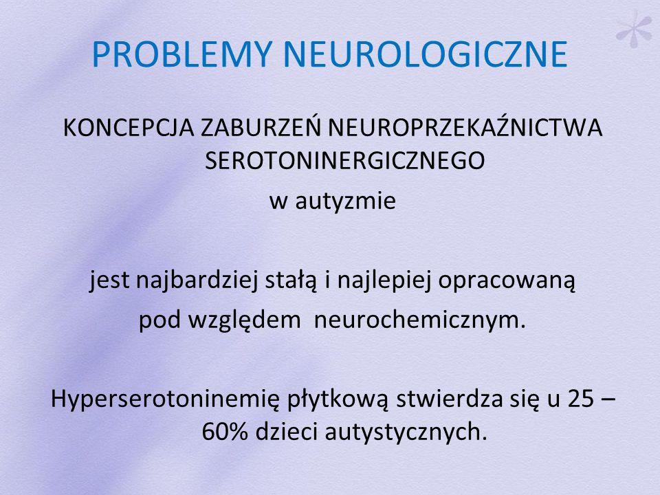 PROBLEMY NEUROLOGICZNE KONCEPCJA ZABURZEŃ NEUROPRZEKAŹNICTWA SEROTONINERGICZNEGO w autyzmie jest najbardziej stałą i najlepiej opracowaną pod względem neurochemicznym.