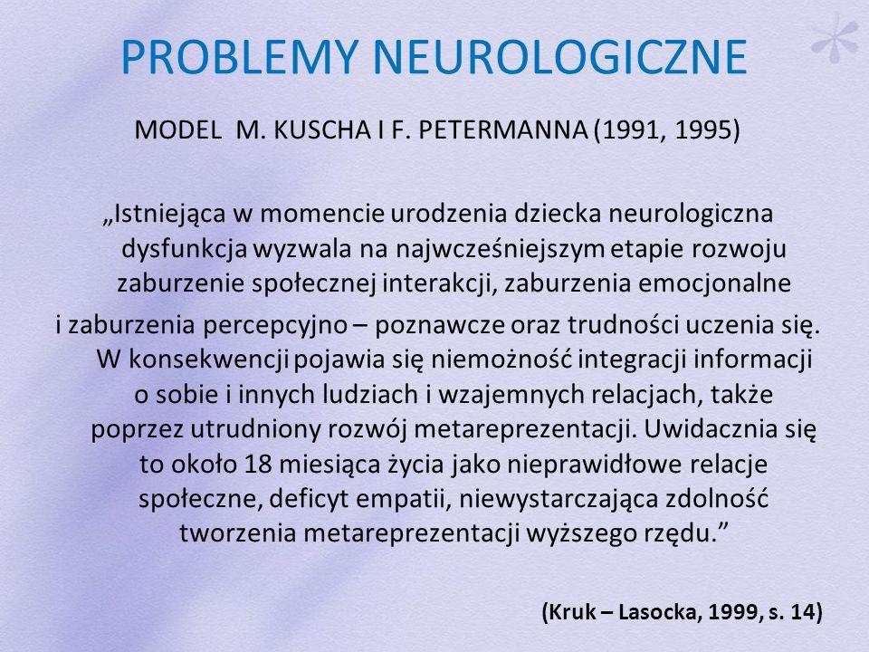 """PROBLEMY NEUROLOGICZNE MODEL M. KUSCHA I F. PETERMANNA (1991, 1995) """"Istniejąca w momencie urodzenia dziecka neurologiczna dysfunkcja wyzwala na najwc"""
