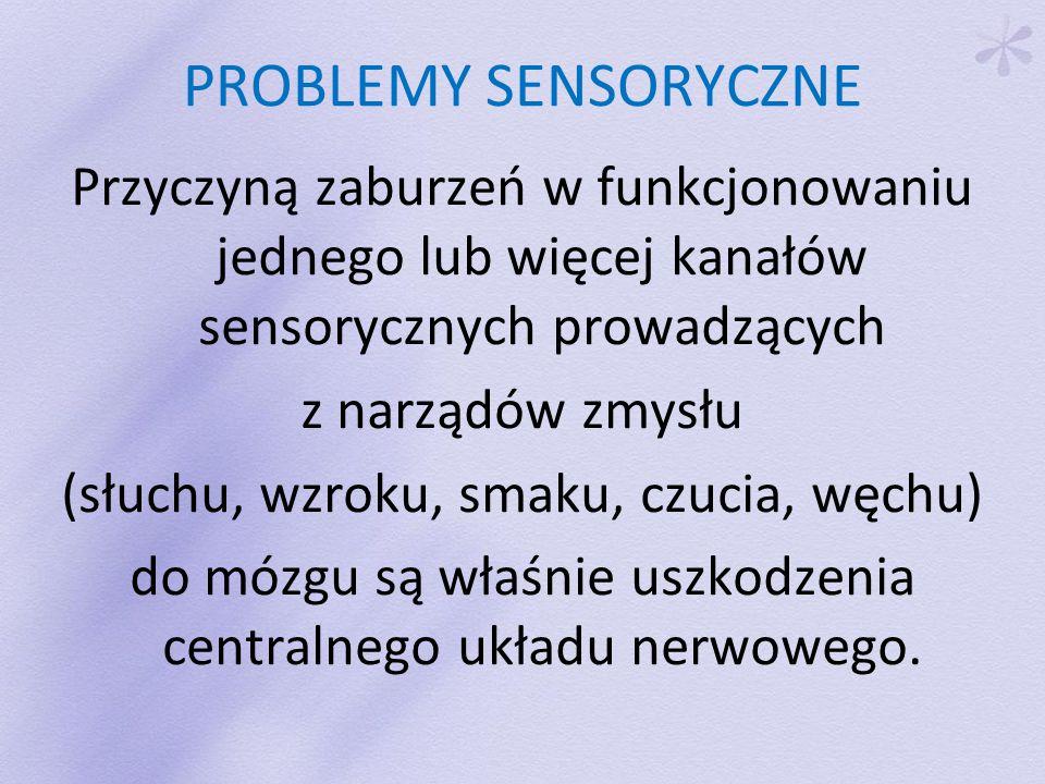 PROBLEMY SENSORYCZNE Przyczyną zaburzeń w funkcjonowaniu jednego lub więcej kanałów sensorycznych prowadzących z narządów zmysłu (słuchu, wzroku, smaku, czucia, węchu) do mózgu są właśnie uszkodzenia centralnego układu nerwowego.