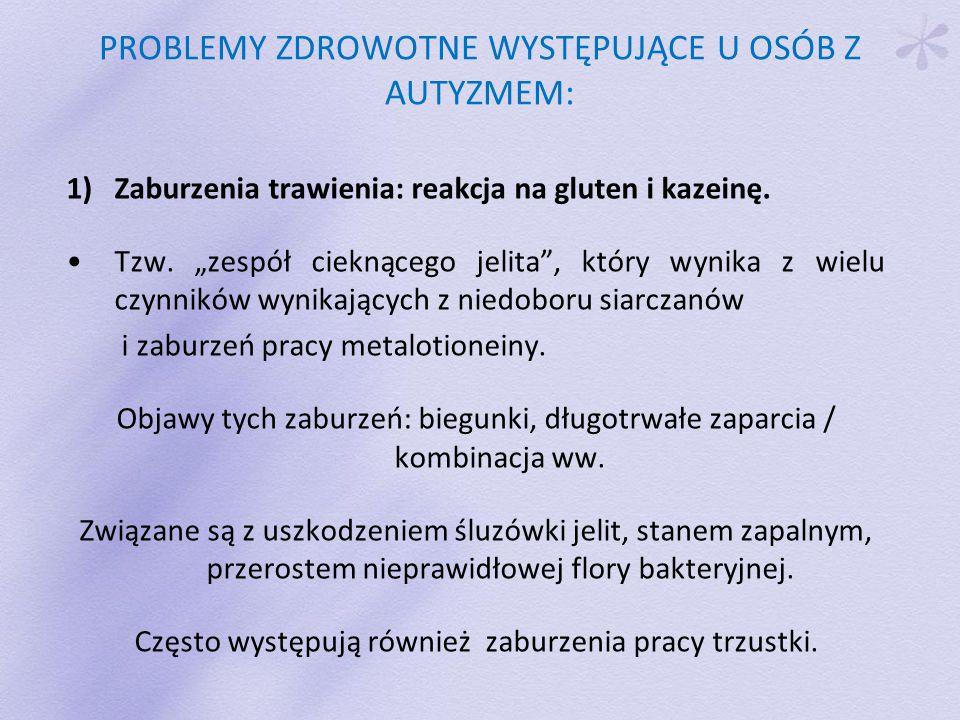 PROBLEMY ZDROWOTNE WYSTĘPUJĄCE U OSÓB Z AUTYZMEM: 1)Zaburzenia trawienia: reakcja na gluten i kazeinę.